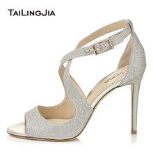 Women Peep Toe Ankle Strap High Heel Sandals Sliver Glitter Strappy Heels Cross Tied Beige Elegant Wedding Shoes Large Size 2018 peep toe high thin heel dark khaki women sandals ankle cross tied shoes mature style well matched clothes shoes for summer