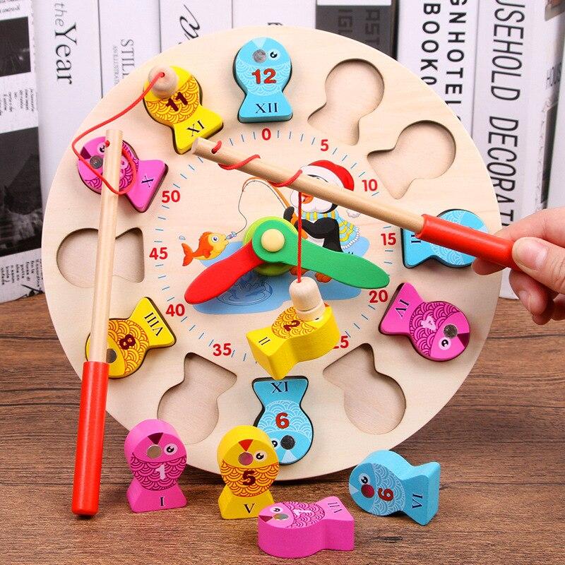 Монтессори цифровые магнитные деревянные игрушки для рыбалки настольные игры