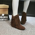Fashion fashion autumn and winter nubuck leather boots female elevator women's tassel boots shoes casual flat ankle boots
