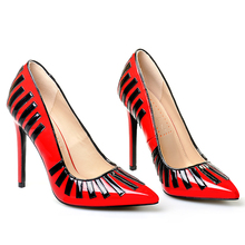 Pink Palms autumn women high heels shoes red classic pointed toe narrow band decoration wedding party elegant pumps