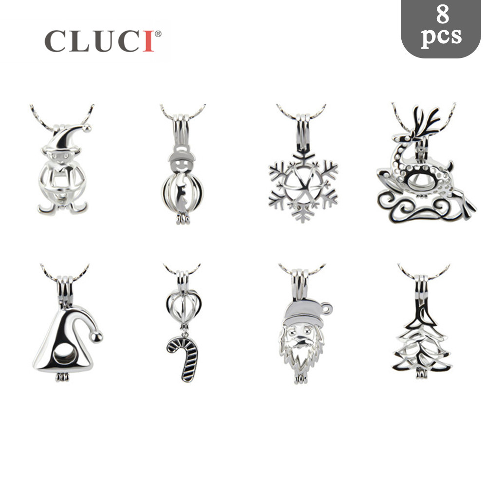 CLUCI 8pcs/set Christmas charms Snowman/Candy cane/Christmas hat/Tree Beads Pearl Cage Pendant for Necklace/Bracelet Making цена