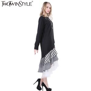 Image 4 - TWOTWINSTYLE 2020 Women Long Sleeve T Shirt Midi Dress Patchwork Stripe Mesh Ruffle Flare Asymmetrical Hem Pullover Casual