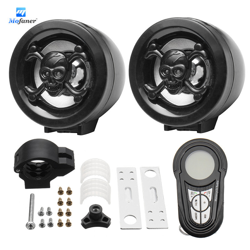 Mofaner 1 Set Waterproof Bluetooth Motorcycle Audio Radio Sound System Stereo Speakers MP3 USB Motor Radio