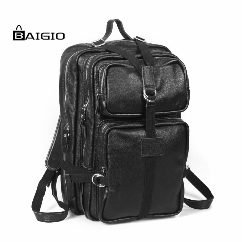 Baigio Men's Vintage Genuine Leather Backpack Black 15.6 Laptop Bag Men's Casual School Bags Travel Shoulder Bag Men Backpack male bag vintage cow leather school bags for teenagers travel laptop bag casual shoulder bags men backpacksreal leather backpack