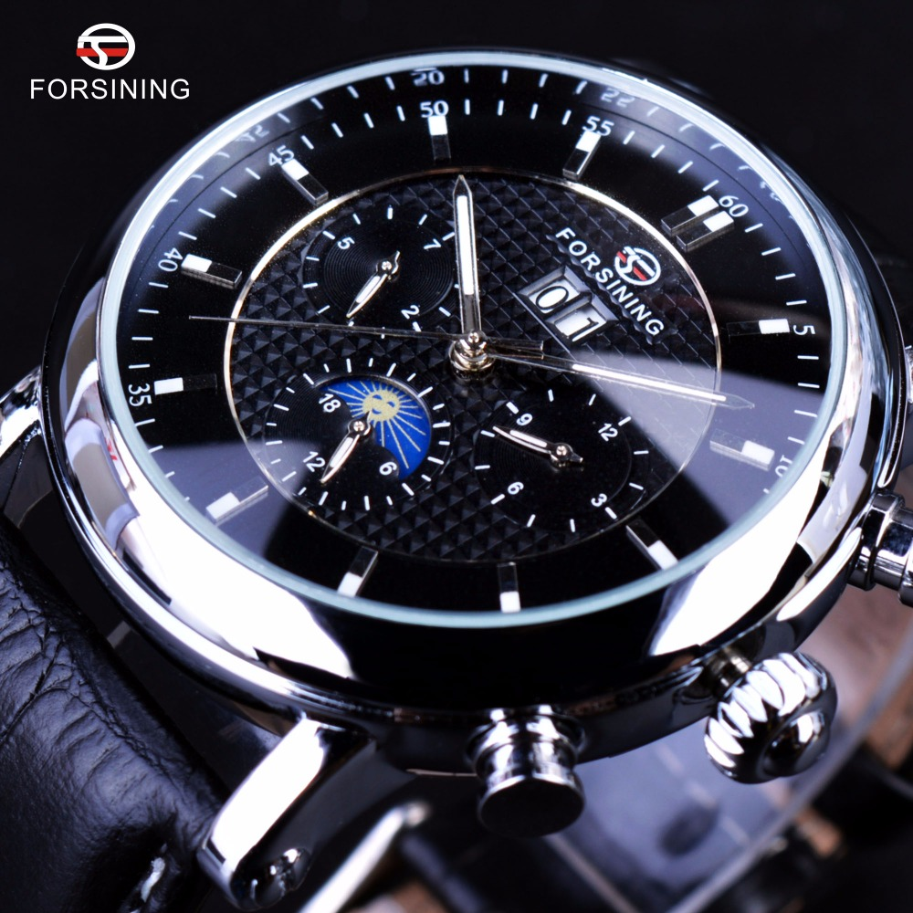 Forsining Luxury Casual Design Moonphase Calendar Display Mens Automatic Fashion Top Brand Luxury Mechanical Male Wrist Watches mens watches top brand luxury automatic mechanical luxury chronograph dial moonphase automatic watch