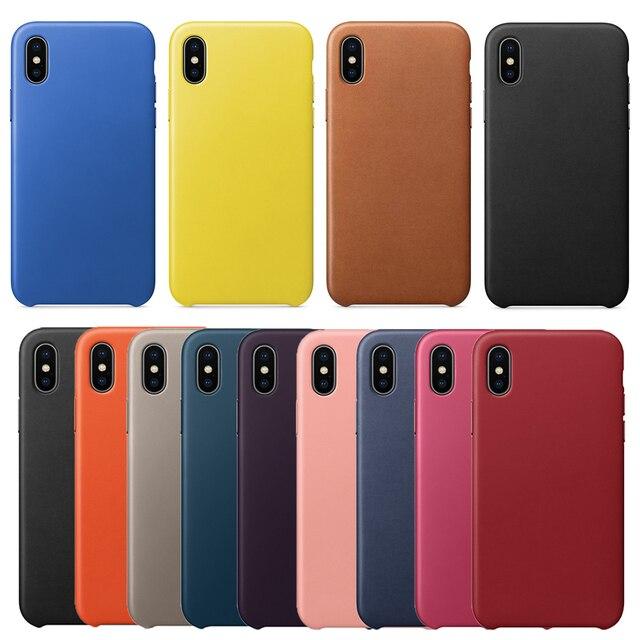 55fca96934e Description. Nueva Funda de cuero genuino de alta calidad para Apple para  iPhone X XR XS Max 7 8 Plus ...
