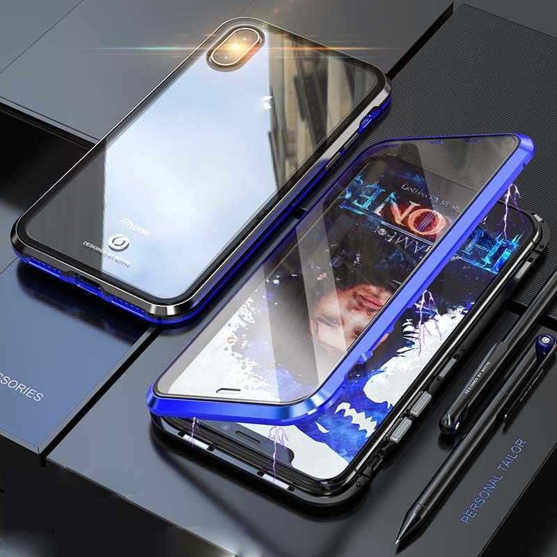 الفاخرة كامل الجسم واقية المغناطيسي حالة 360 شفاف الزجاج المقسى الغلاف الخلفي ل iphone 7 8 8 زائد X XS XR xsMax KS0154