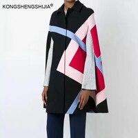 2017 autumn winter cloak contrast color simple casual fashion black dark blue women cloak poncho wool blends coat
