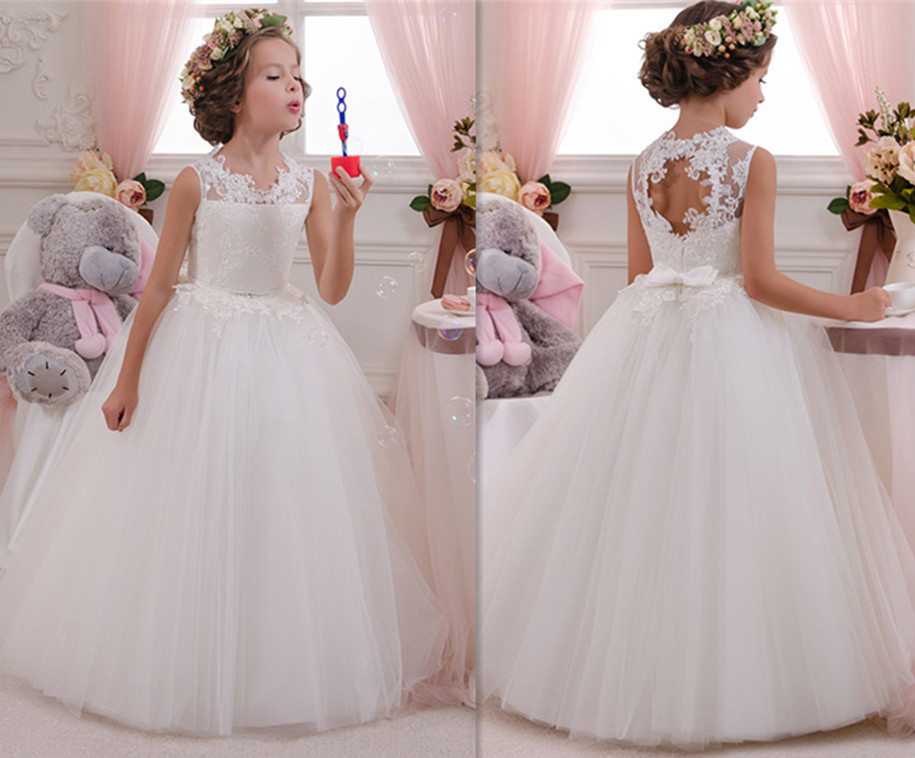 White Long Flower Girls Dresses Ball Gown Lace Sleeveless O Neck Pageant Gown First Communion Dresses кеды bxsc d259 2015