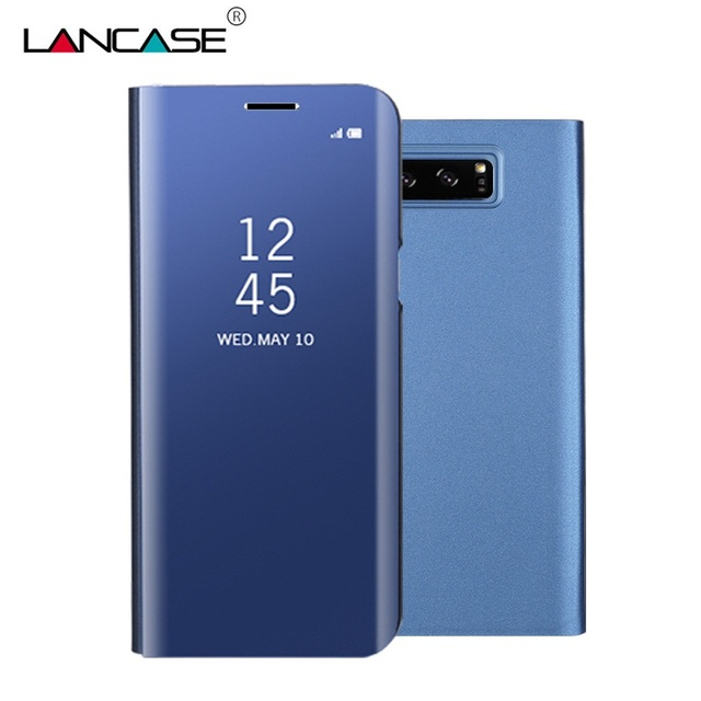 reputable site 4d969 69366 US $12.69 |LANCASE Cover For Samsung Galaxy Note 8 Case Mirror View Smart  Plating Flip Leather Case For Samsung Note 8 Stand Phone Cases-in Flip  Cases ...