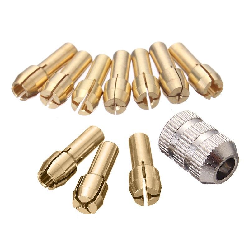 10Pcs Brass Drill Bit Chucks Collet Bits 0.5-3.2mm 4.3mm Shank With Screw Nut For Dremel Power Tool Accessories