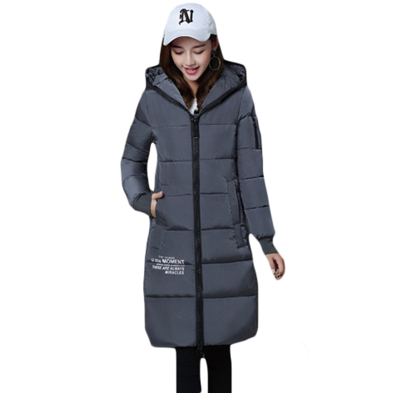 9ff2cf79373 Winter Overcoats Long Women Padded Cotton Warm Jacket Winter Coat Women s  Letter Print Parkas Casacos de Inverno Feminino XH904-in Basic Jackets from  ...