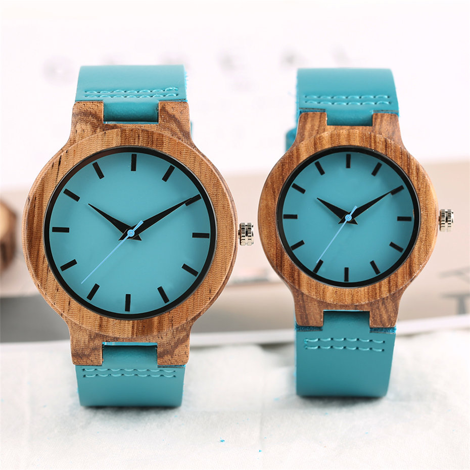 Fashion Bamboo Wood Watch Women Zebra Wooden Blue Genuine Leather Band Men Watches Creative Quartz Couple Clock Lover's Gift yisuya inverted triangle bamboo wood wrist watch men top brand genuine leather band strap quartz creative watches wooden clock