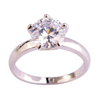 Wholesale Fashion 8*8mm Dazzling Round White Topaz 925 Silver Ring Size 6 7 8 9 10 11 12 Engagement Wedding Bridal Free Shipping