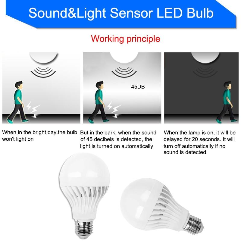 US $1 3 |Led Bulb with RIP Motion Sensor Auto Sound Light Radar Infrared  Body Lamp 110V 220V E27 3W 5W 7W 9W 12W Energy Saving Home Decor-in LED  Bulbs