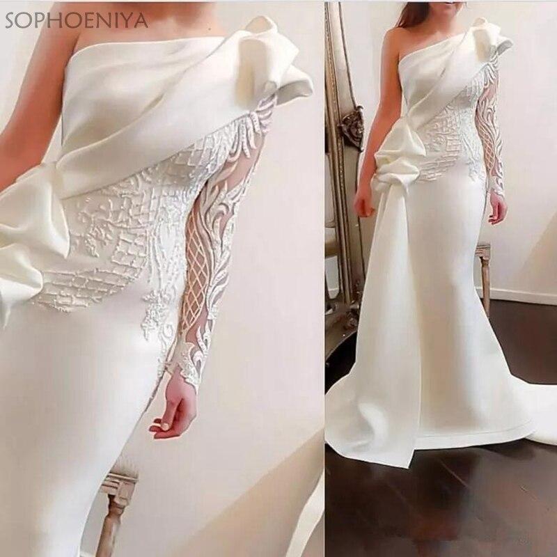 Élégant une épaule sirène robes de soirée 2019 blanc manches longues robes de soirée Satin ruché volants Applique robe formelle