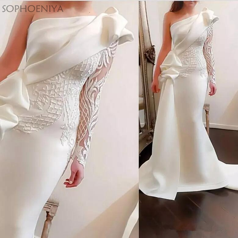 Elegant One Shoulder Mermaid Evening Dresses 2020 White Long Sleeves Evening Gowns Satin Ruched Ruffles Applique Formal Dress