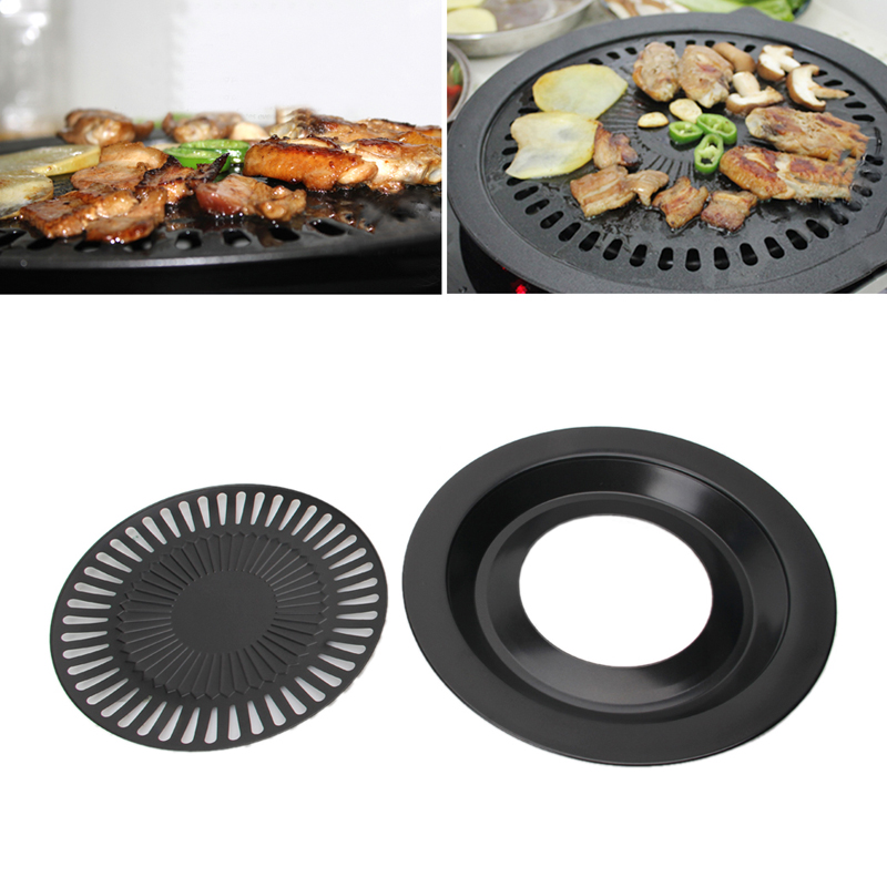 Non-stick BBQ Gas Grill Pan Refined Iron for Barbecue BBQ Plate Healthy Smokeless Barbecue Plate Outdoor Roasting Tool
