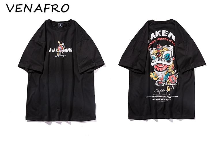 T-shirts Summer Mens T-shirt Short Sleeve T-shirt Chinese Style Asian Culture Hip Hop Tops Tee Fashion Streetwear Tshirt New Harajuku