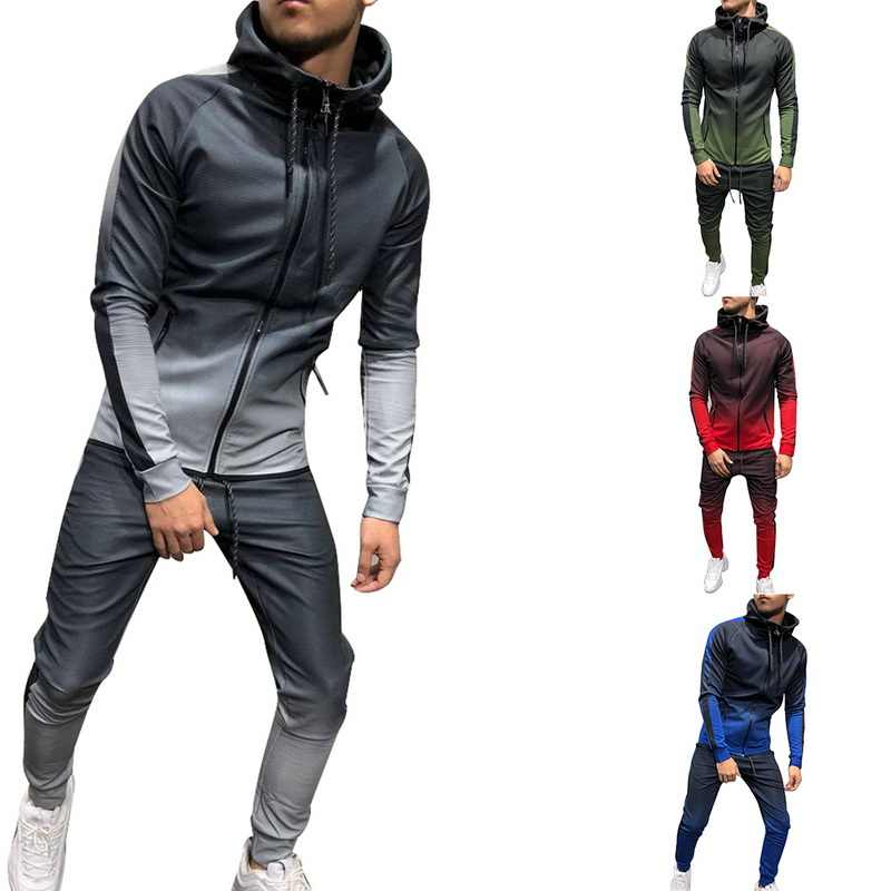 0371cda75c7be WENYUJH Zipper Tracksuit Men Set Sporting Two Pieces Sweatsuit Men Clothes  Printed Hooded Hoodies Jacket +