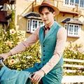 2016 Primavera New Arrival Marca-roupas 20% Roupa Formal Dos Homens Coletes Homens colete Colete de Terno Clássico Slim Fit Azul Slim Fit Retro