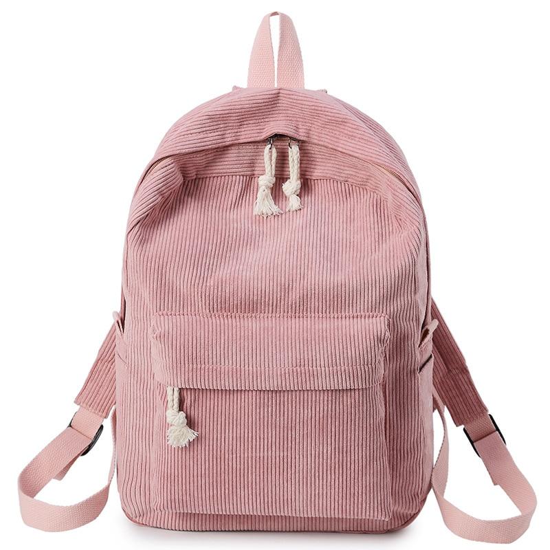 2019 Neue Rucksack Frauen Adrette Weiche Stoff Rucksack Weibliche Cord Design Schule Rucksack Für Teenager Mädchen Striped 3 Dauerhafte Modellierung
