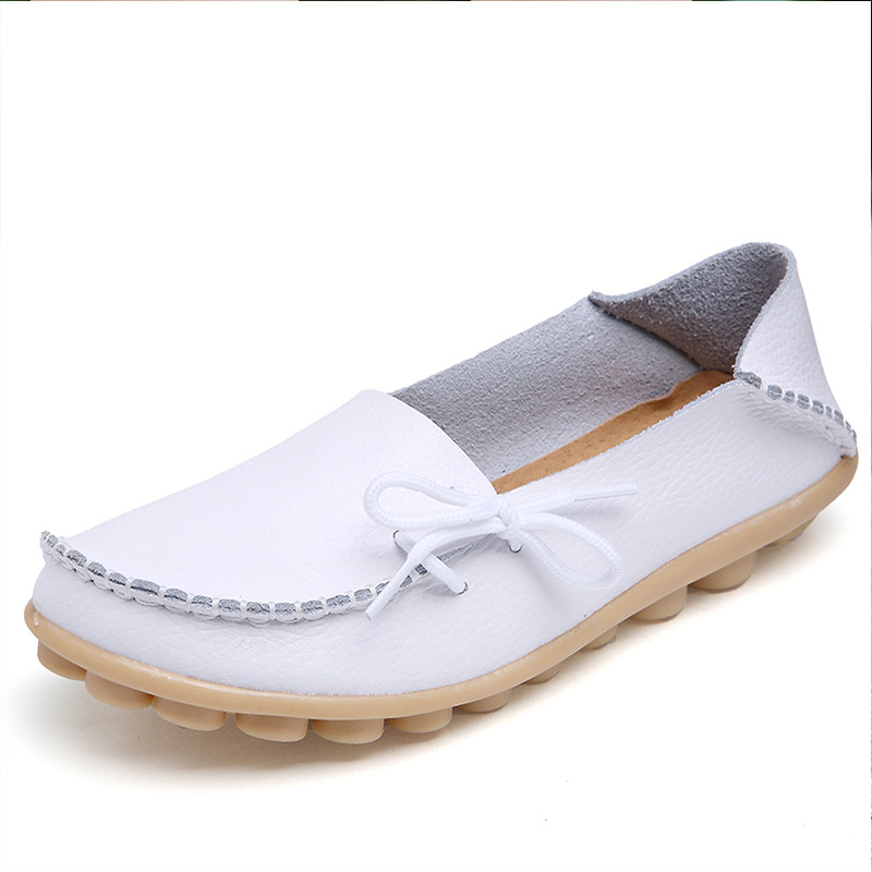 Plus Size Women Casual Sneakers Female Leather Shallow Slip On Female Vulcanized Shoes Ladies Flats Footwear