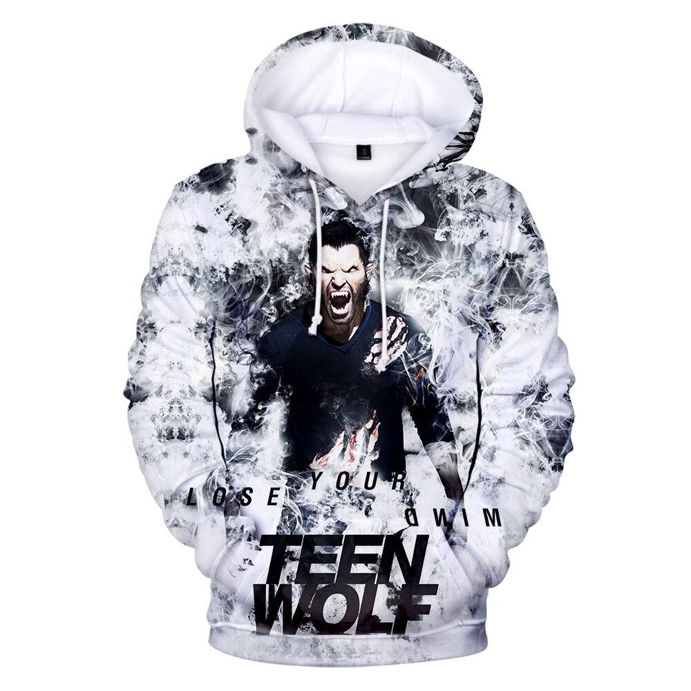 Aikooki Hot Sale Popular TV Series Teen Wolf Printed Hoodie Men Personality Comfortable Hooded Sweatshirt Loose Harajuku Tops