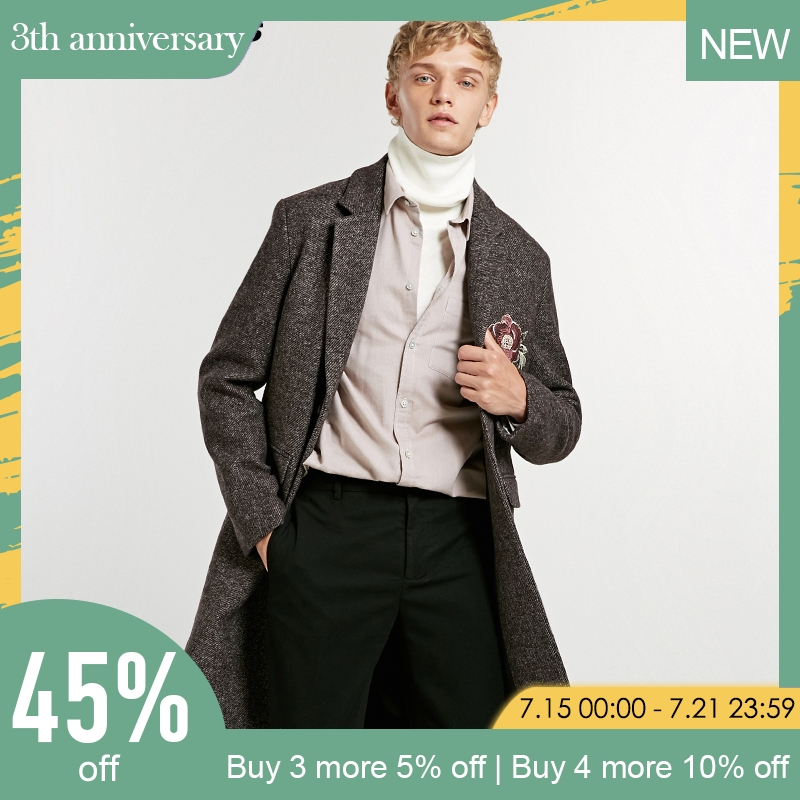 jack Jones embroidery mid long wool coat| 218327523