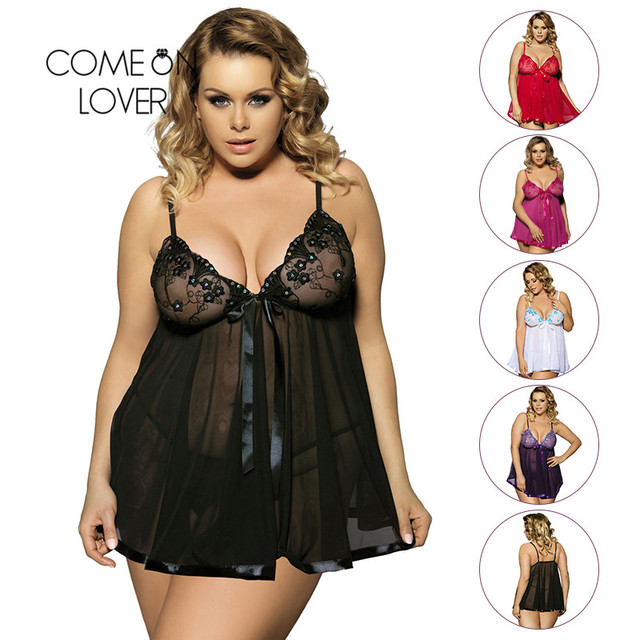 Comeonlover Sexy Clothes Erotic Underwear Women Baby doll Sexy Lingerie Hot  Transparent Plus Size 6XL Lace Lingerie Sleepwear d5ce860f6