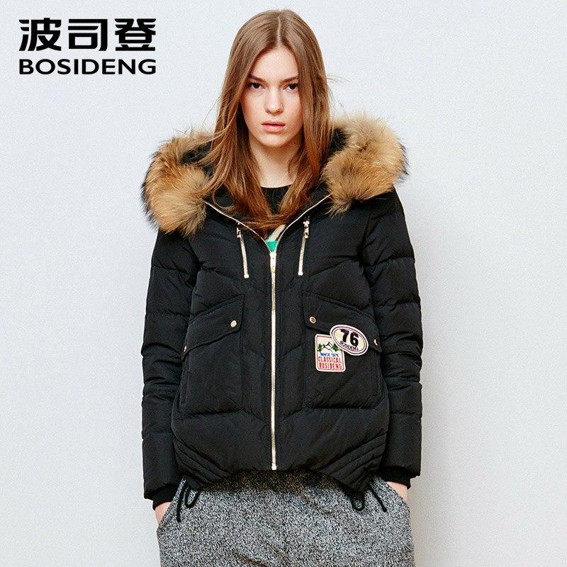 BOSIDENG new women duck   down     coat   real raccoon fur hood   down   jacket asymmetric thick parka applique winter warm outwear B1501172