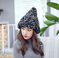 New Crocheted Hat Women 's Coarse Wool Cap Korean autumn and winter mixed color curling knit hat tide brand warm hat MZ-1#
