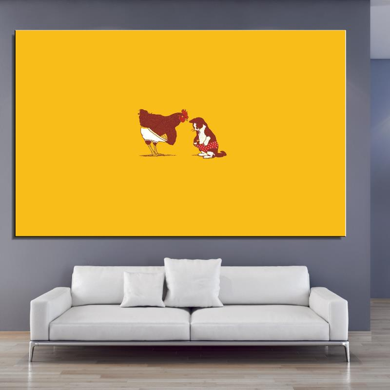 rooster and cat pant cute fun illust art Cartoon Abstract Home decor Frameless Oil Painting drawing Canvas Spray digital art