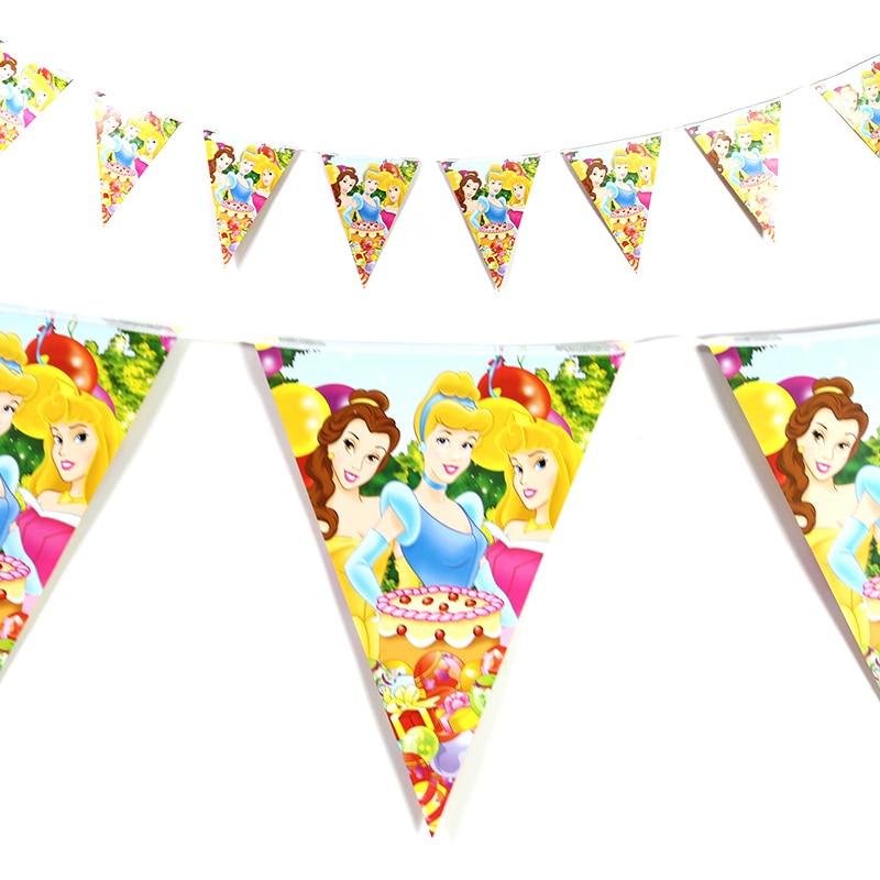 12pcs/set Disney Princess Theme Flag Banner Happy Birthday Party Decorations adult Supplies