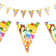 12pcs/set Disney Princess Theme Flag Banner Happy Birthday Party Decorations adult Supplies