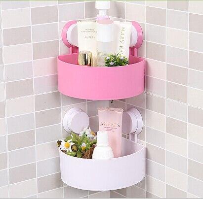 Creative Wall Mounted Bathroom Shelves Poweful Suction Corner Sucker ...