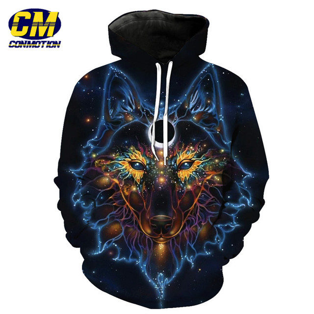 Conmotion Galaxy Wolf Face Print Fashion Hoodie Cool Pullover Eur