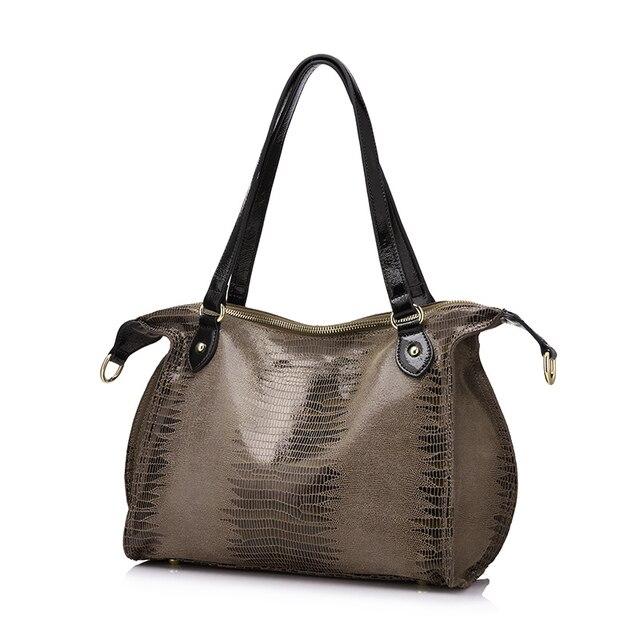 REALER brand fashion women genuine leather shoulder bags high quality crocodile pattern leather handbags female tote bag