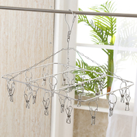 High Quality Outside Portable Laundry Stainless Steel Hanging Drying Wash Airing Rack With 20 Clip For