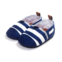 Newborn Kids First Walkers Shoes Baby Boys girls Leisure Toddler shoes Infant Babe Crib Soft Bottom Striped Loafer Shoes(China)