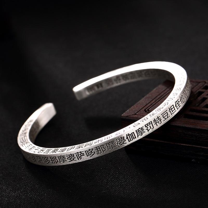 2018 New 925 Sterling Silver Charm Bracelets & Bangles for Women Fine Jewelry Mantra Silver Bangle Bracelet Pulseiras цена