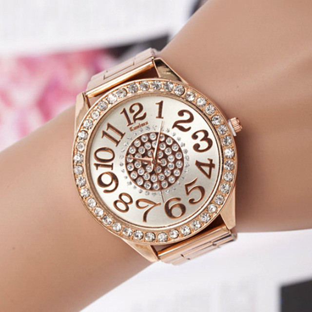 06302e24cb9 Relogio feminino nuevas mujeres relojes números romanos Crystal pulsera  casual Wach vestido elegante reloj mujer reloj Mujer en Relojes de mujer de  ...
