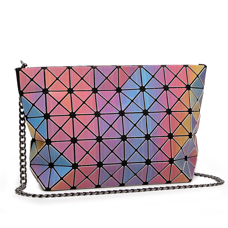 JAPANESE LASER GEOMETRY FOLDED PU LEATHER SOLID COLOR WOMEN Shoulder Crossbody Bags 28 7 18CM