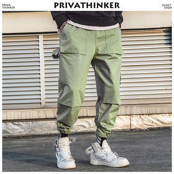 b1288b66ac3e8 Privathinker для мужчин хаки штаны-карго 2018 мужской кошелек по щиколотку  брюки для девочек мужской