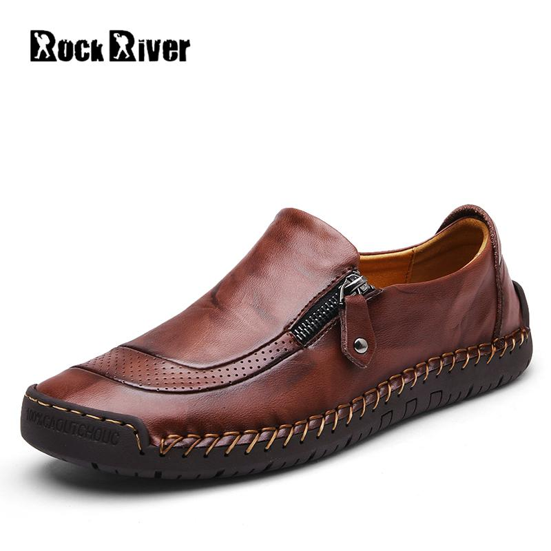 2018 High Quality Handmade Genuine Leather Shoes Men Luxury Soft Flats Mens Shoes Casual Moccasins Zip Mens Loafers