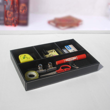 30x21cm wood wooden leather desktop office stationery accessories pen tray holder organizer box case black 299A