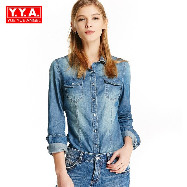 Handsome European New Slim Fit Long Sleeve Denim Shirt For Women Single  Breasted Rerto Punk Jeans Toe Leisure Washed Clothing dd7767b7f
