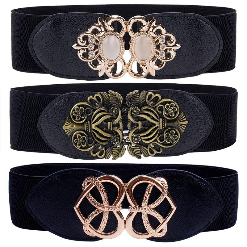 Women Fashion Stretch Cummerbunds Opal Buckle Heart Waist Belt Black Wide Elastic Cinch Corset Clubs Party Waistband Girls Lady
