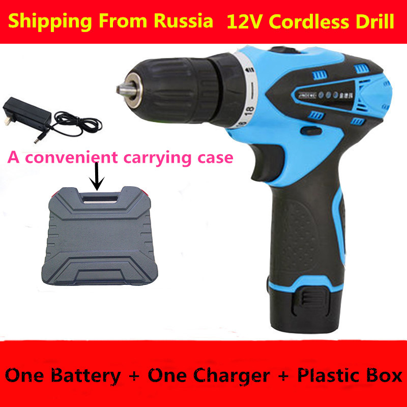 qmango Shipping from Russia 12V Cordless Drill Rechargeable lithium battery electric mini drill power tools battery