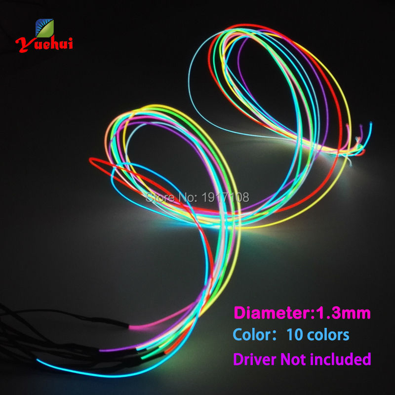 10 Color Choice 1.3mm Orange EL Wire Rope Tube Flexible Neon Light Not Include The Controller For Toys Craft Party Decoration